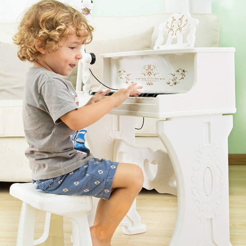 Bosonshop Kids Toy Grand Piano with 37-Key Keyboard Stool and Microphone Little Princess, White