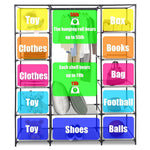 "Bosonshop 59"" Clothes Closet Portable Storage Organizer with Hanging Rod, Nonwoven Fabric, 12 Storage Shelves-Grey"