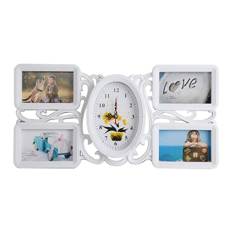 Bosonshop Collage Pictures Frames 4 Openings White Photo Holder with Glass Front for Family,20.5 X 11