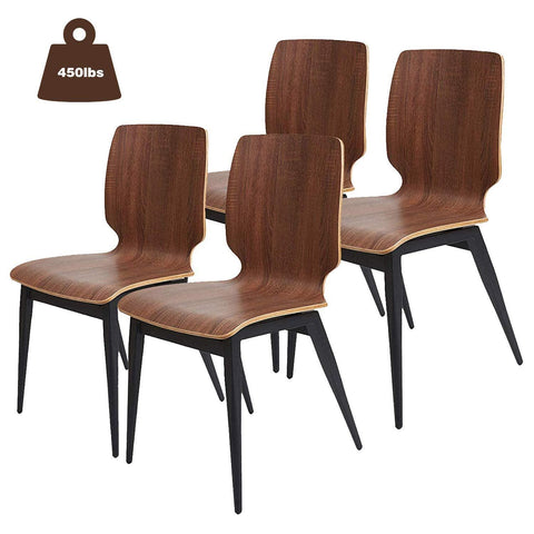 Bosonshop 4 Set Modern Dining Chairs Wooden Kitchen Side Chairs with Metal Legs, Ergonomic Design
