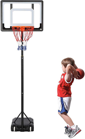Portable Basketball Hoop Backboard System Stand Outdoor Sports Equipment Height Adjustable 6.5Ft-8.2Ft with Wheels for Kids
