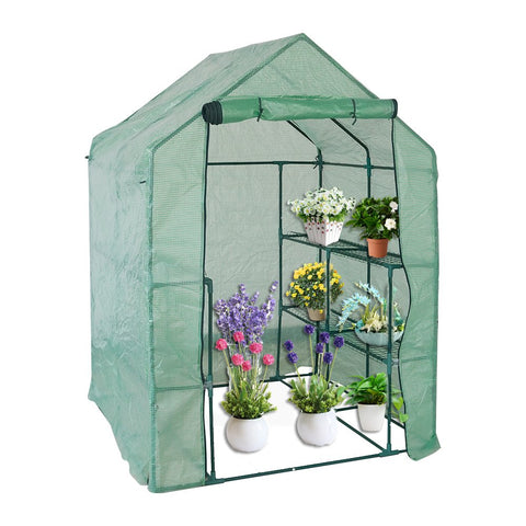"Bosonshop  Walk in Mini Outdoor Greenhouse 2-Tier 8-Shelf 56.3""(L) x 56.3""(W) x 76.7""(H)"