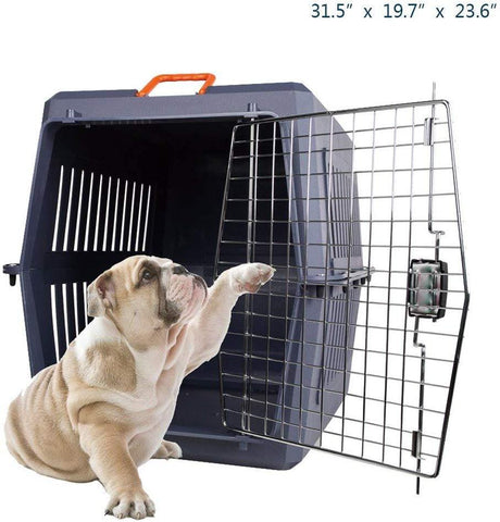 Bonsonshop 4 Size Plastic Cat & Dog Carrier Cage with Chrome Door Portable Pet Box Airline Approved