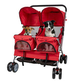 Bosonshop Pet Stroller Twin Folding Dog Cat Carrier Travel Cart with 360 Rotating Front Wheel