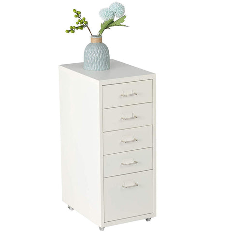 5 Drawer Chest Metal Storage Dresser Cabinet for Home Office Cabinets, White