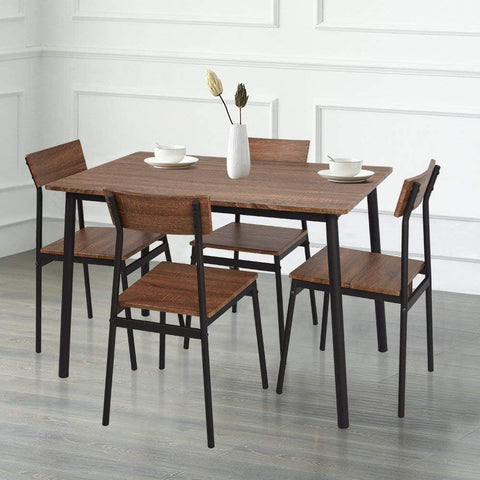 Bosonshop 5 Piece Wood Dining Table Set with Metal Legs, Retro Brown