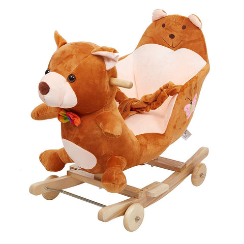 Bosonshop Children Wooden& Plush Rocking Horse Toy,Brown Bear