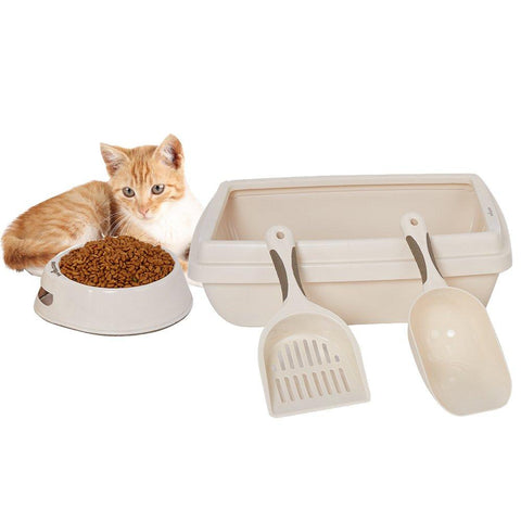 Bosonshop Plastic Pet Supplies Set Cat Kitten Dog Litter Tray, Bowl, Litter Scoop and Food Scoop