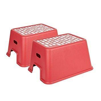 Bosonshop 2 Pack Non-Slip Large Step Stool for Kids and Adults with Strong Portable Carrying Handle  (red)