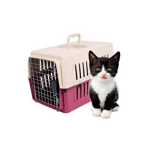 Bosonshop Portable Pet Airline Box,Outdoor Portable Cage Carrier Suitable for Dogs Cats Rabbits Hamsters, Small Red