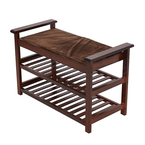 Bosonshop Bamboo Shoe Bench with Cushion Upholstered Padded Seat
