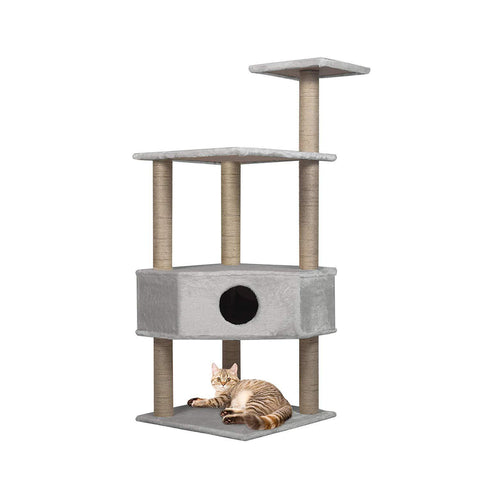 "50.4"" Modern Cat Tree Scratching Post - Grey"