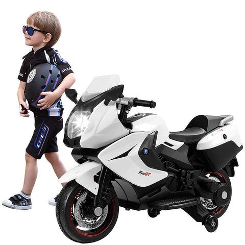 Bosonshop 12V Cool Ride On Kids Electric Motorcycle Driving Toy Car with Two Big Wheels for Boys, White
