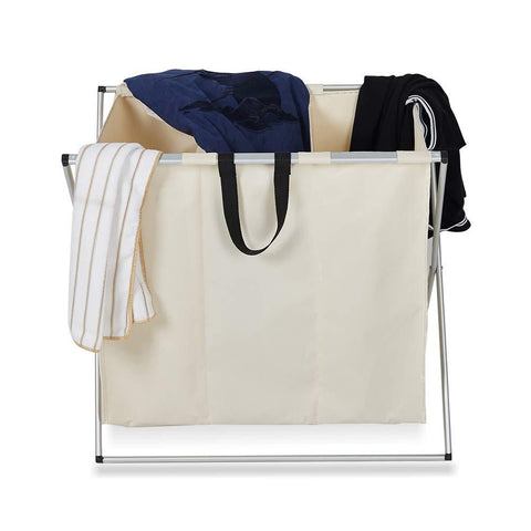 Bosonshop 3-Bag Laundry Basket Laundry Hamper Made of Oxford and Aluminum X Frame