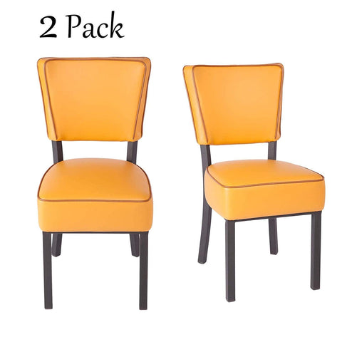 "Bosonshop 33"" Upholstered Bar Stools with Cushioned Seat,Modern Dinning Kitchen Chair (Set of 2), Yellow"