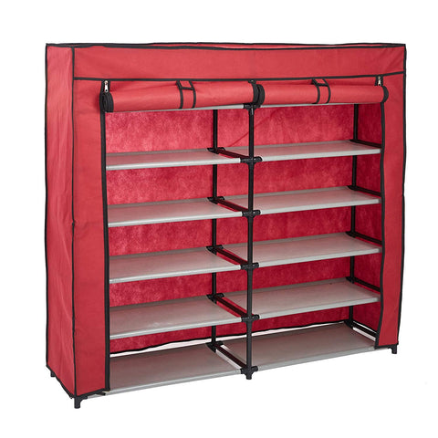Bosonshop Shoe Rack 6-Tier 36 Pair Shoe Storage Organizer with Dustproof Non-woven Fabric Cover (Red)