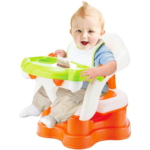 Bosonshop 3-In-1 Baby Bath Seat Dining Chair Booster Seat With Armrest, Orange