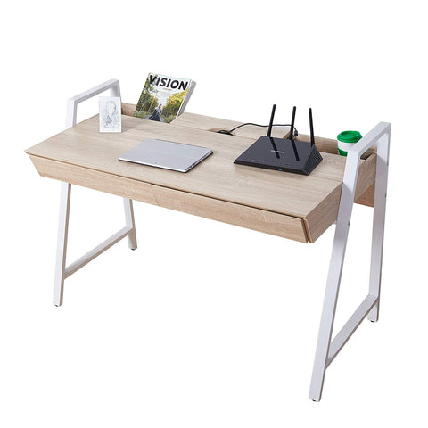 Bosonshop Wood Computer Desk Computer Table Writing Desk Workstation Study Home Office Furniture with Two Drawers,White