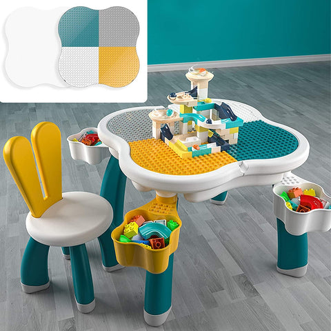 Kids Multi Activity Table with 1 Rabbit Chair Set Building Blocks Compatible Bricks Toy