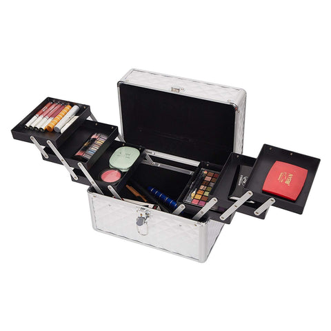 Professional Makeup Train Case with 6 Sliding Trays Portable Cosmetic Box Storage Organizer Aluminum Design