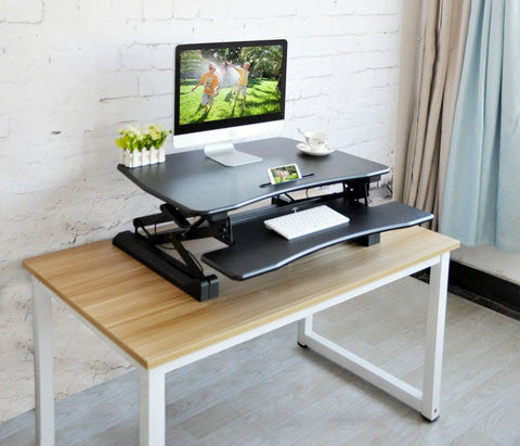 "Bosonshop Adjustable Stand up Desk Dual Monitor 35"" Wide Platform, Black"