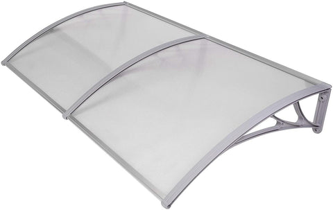 "Window Door Awning Cover UV Rain Snow Protection One-Piece Polycarbonate Hollow Sheet -Gray (80"" x 40"")"