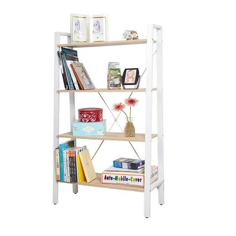 Bosonshop Free Standing Open Bookcase Storage Shelf Units Display Stand, Oak and White