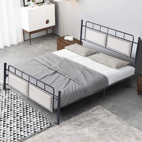 Bosonshop Mordern Full Size Platform Bed with Frame, Black, 12inch