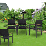 Bosonshop 4 Pack Outdoor Patio All Weather PE Wicker Dining Chairs with Aluminum Alloy Frame