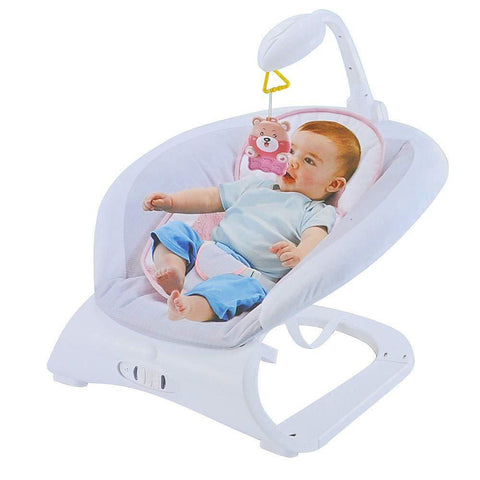 Baby Contrast Bouncer with Vibrating Seat Baby Rocker Sleeper, Pink