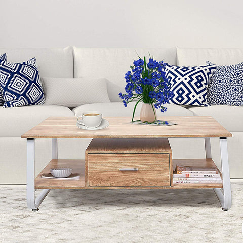 "Bosonshop 47"" Modern End Table with Drawer Storage Shelf Rectangular Side Table"