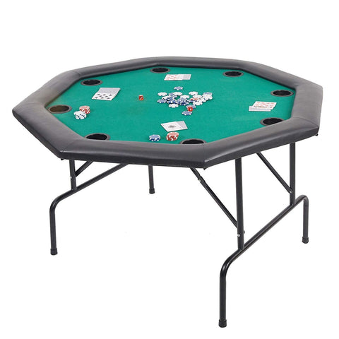 "Bosonshop 48"" Octagon Folding Poker Table Folding Steel Legs and Cup Holders Forest Green"
