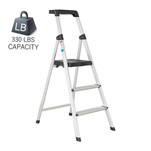 Bosonshop Folding Portable 3 Steps Anti-Slip Step Ladder 330Lbs Load Capacity with Tool Tray