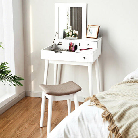 Vanity Table Set with Flip Mirror Desk Furniture Stool