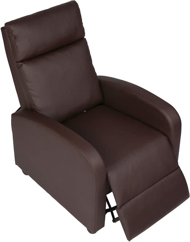 Recliner Chair PU Leather Single Sofa Adjustable Home Theater Seating Recliner Sofa for Living Room & Bedroom, Brown