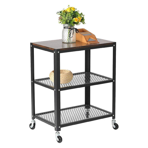 Modern Style Storage Rack with Wheels 3 Tiers Storage Shelf Steel Movable Shelf Display Rack, Black/Brown