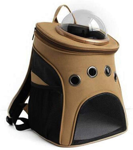 Bosonshop Canvas Breathable and Transparent Traveler Bubble Backpack Pet Carriers Airline Travel Approved for Cats and Dogs,Khaki
