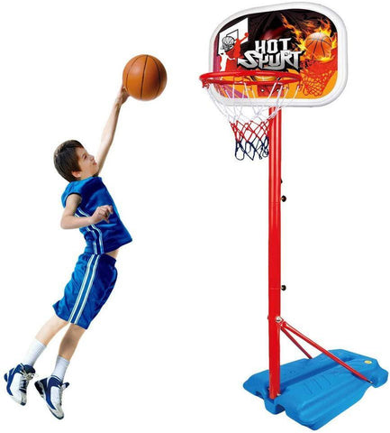 Kids Basketball Hoop Stand Set Adjustable Height with Ball & Net Play Sport Games for Children Indoors Outdoors Toys