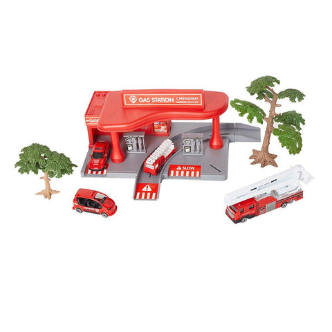 Bosonshop Fire Station Parking Garage Toy Playset with 4 Fire Rescue Vehicles and Lift