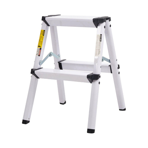 "Folding 2 Step Stool Light Weight Aluminum Step Ladder, 250 lbs Capacity (19""H)"