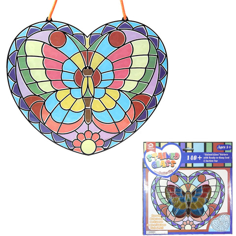 Bosonshop Peel and Press Stained Glass Stickers 140+ Butterfly with Ready-to-Hang Cord and Suction Cup