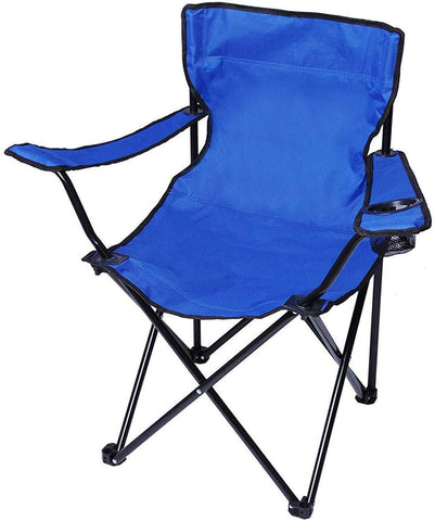 Portable Camping Chairs with Carry Bag and Cup Holder Folding Quad Chair Blue