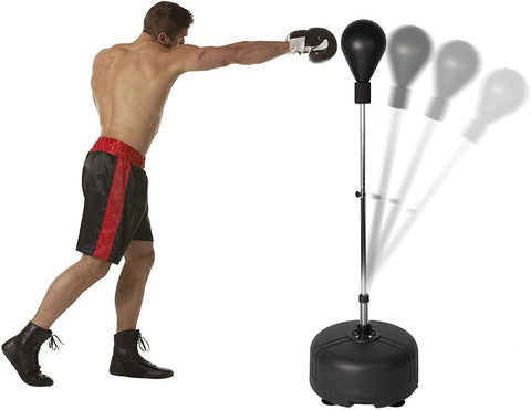 Punching Bag Freestanding Reflex Boxing Bag with Stand Height Adjustable Speed Punching Ball for Adult and Kids Fitness Training -Black
