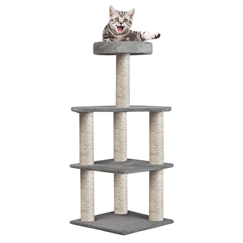 "37.4"" Multi-Level Carpeted Cat Scratching Post Pet- Grey"