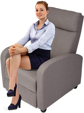 Fabric Recliner Chair Adjustable Single Sofa Home Theater Seating Recliner Reading Sofa for Living Room & Bedroom, Grey