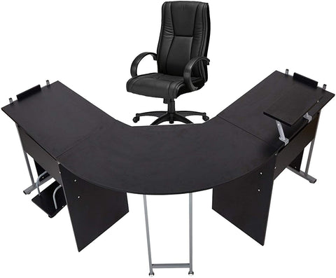"71"" L-Shaped Gaming Desk -Large Desktop 22"" Wide Wood Curved Corner Office , Black"