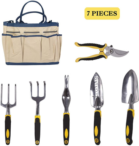 Garden Tool Set 7 Piece Manual Gardening Gifts Kit Planting Tools Anti-Rust Trowel Rake Pruner Non-Slip Handles Waterproof Storage Tote
