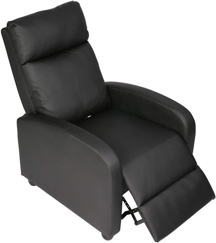 Recliner Chair PU Leather Single Sofa Adjustable Home Theater Seating Recliner Sofa for Living Room & Bedroom, Black