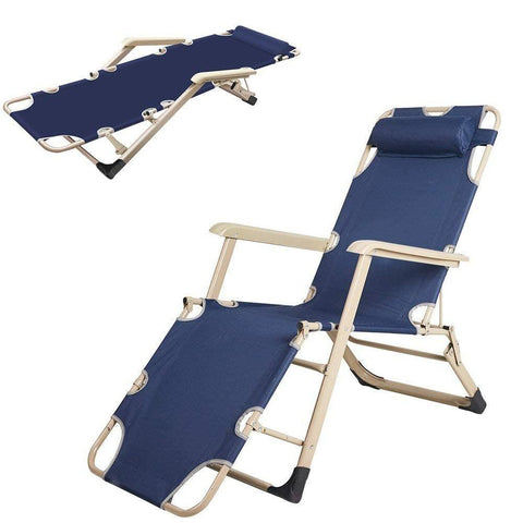 Bosonshop Outdoor Reclining Lounge Chairs with Pillow, Dark Blue