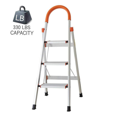 Bosonshop 3 Step Aluminum Ladder Anti-Slip Stepladder with Rubber Hand Grip 330lbs Capacity Silver